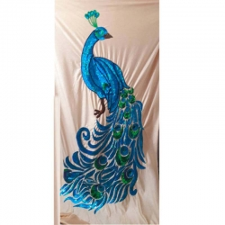 4 FT X 8 FT - Decoration Background Curtain - Entrance Decoration - Stage Decoration Cloth Made Of Velvet Fabric With Designing Of Moti Sitara Work - Skin Color