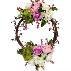 28 Inch  X 16 Inch - Hanging Frame Ring - Artificial Flower With Frame - For Indoor & Out Door Decoration - Multi Color