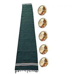 1.5 FT X 9.8 FT - Cotton Floor Mat - Bhojan Patti - Aasan - Flouring Mat - Green Color