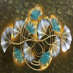 24 Inch - Leaf Abstract - With LED Light - Wall Decoration - Wall Frame - Made Of Metal