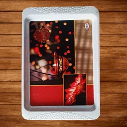11 Inch - Serving Platter - Small Tray - Made of Premium Plastic- Rectangular Shape Serving Platter Square Decorative Tray -  Diya Print Tray