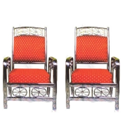 Steel Mandap Chair - 100 % Stainless Steel  - Wedding Chair - One Pair (2 Chairs) - Red Color.