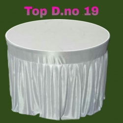 4 FT X 4 FT - Round Table Cover - Table Top Taiwan &  Jhalar Brite Lycra Cloth - White Color