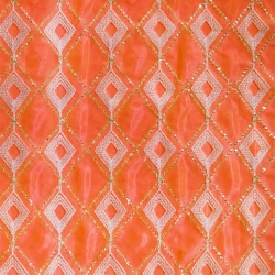 26 Gauge - Designer Bright Lycra - Embroidery Work - 52 Inch Panna -  Threadwork & Sequence Work - Orange & White Diamond