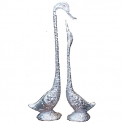 36 & 30 INCH - Fancy Large Kissing Duck - Center Table Showpieces - Silver Color