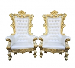 White Color - Udaipur - Heavy - Premium - Mandap Chair - Wedding Chair - Varmala Chair Set - Chair Set - Made of Wooden & Metal - 1 Pair ( 2 Chair )