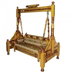 2 In 1 - Heavy Wooden Swing - Sankheda Jhula -  Palna  Maroon & Golden Color