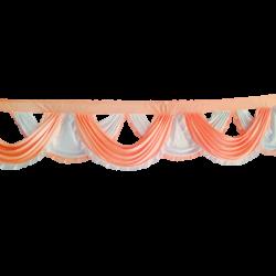 24 FT - Designer Zalar - Scallop Zalar - Kantha - Jhalar - Made Of Lycra - Peach & White  Colour