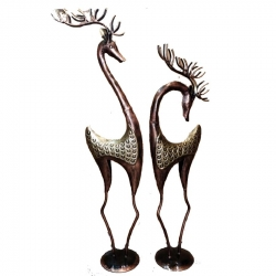 36 & 30 INCH - Iron Metal Deer - Center Table Decoration - Golden Color  (Set of 2)