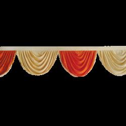 15 FT - Designer Zalar - Scallop Zalar - Kantha - Jhalar - Made of Lycra with Tipki - Orange & Chandan Color