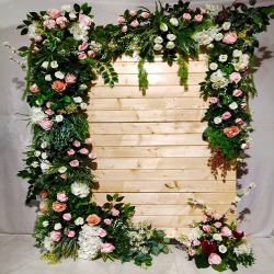 6 FT X 4 FT - Artificial Flowers Wall With Iron Fream - Flower Decoration - Multi Color.