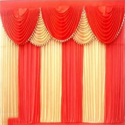 20 FT X 10 FT Designer Curtain - Parda - Stage Parda - Wedding Curtain - Mandap Parda - Background Curtain - Side Curtain - Made Of Bright Lycra - Multi Color - Peach + Catonic Orange - Festoon