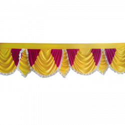 24 FT - Designer Zalar - Scallop Zalar - Kantha - Jhalar - Made Of Lycra - Yellow & Maharani Pink Color