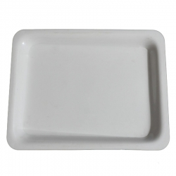 10 Inch X 14 Inch - Serving Tray - Made of Food Grade Acrylic - Rectangular Shape - White Color