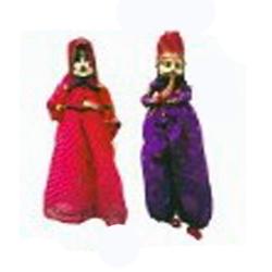 18 INCH - Rajasthani Decorative Wooden With Cloth Fancy Puppet - Pair Home Decor Katputli Showpiece