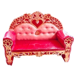 Royal Design Wedding Reception Sofa -Wooden Sofa - White & Pink Color