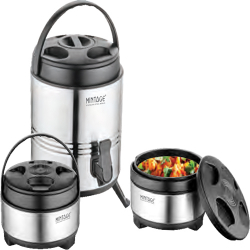4 LTR - Mintage - Hot & Cold Water Dispenser - Hot Case 1500 ML & 2000 ML - Gift Set Solitaire - Made of Stainless Steel - ( Set of 3 )