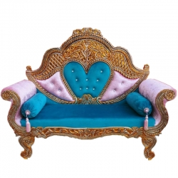 Sky Blue Color -  Heavy Premium Metal Jaipur Couches - Sofa - Wedding Sofa - Wedding Couches - Made of High Quality Metal & Wooden  .
