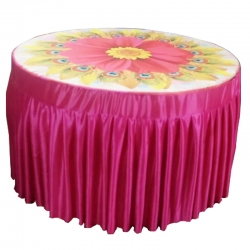 3D Table Cover - Round Table Cover - Top Micro Cloth - Frill Heavy Gauge Brite Lycra - Pink Color