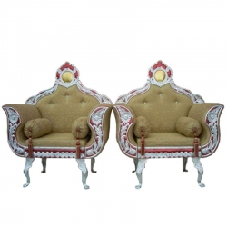 Mehendi Color - Heavy Metal Premium Jaipuri Varmala Chair - Wedding Chair - Chair Set - Made Of Metal & Wooden - 1 Pair ( 2 Chair )