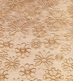 3D Punching Work on Warp Nitting Crush Cloth - 48 Inch Panna - Emboss Work - 5 Meter Quality - Golden Color