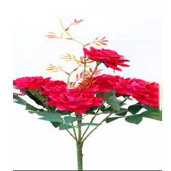 Height 18 Inch - Rose Bunch X 6 - AF - 155 -Artificial Bunch - Leaf Flower - Red Color