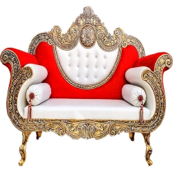 Red & White Color - Heavy Premium Metal Jaipur Couches - Sofa - Wedding Sofa - Wedding Couches - Made Of High Quality Metal & Wooden