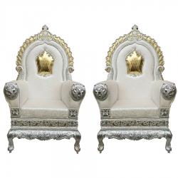 White Color - Heavy Metal Premium Jaipuri Varmala Chair - Wedding Chair - Chair Set - Made Of Metal & Wooden - 1 Pair ( 2 Chair )