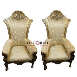 Golden Color - Udaipur - Heavy - Premium - Mandap Chair - Wedding Chair - Varmala Chair Set - Chair Set - Made Of Wooden & Metal - Single