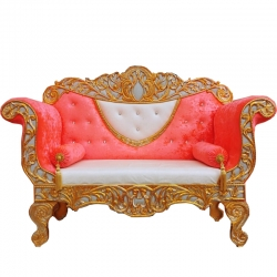 Orange & White Color -Silver Color - Heavy Premium Metal Jaipur Couches - Sofa - Wedding Sofa - Wedding Couches - Made Of High Quality Metal & Wooden
