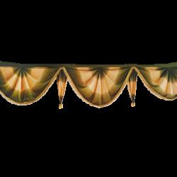 24 FT - Designer Zalar - Scallop Zalar - Kantha - Jhalar - Made Of Lycra Shaded - Mehendi & Chandan Shaded Color
