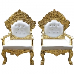 White Gold Color - Regular - Chair - Couches - Wedding Chair - Made of Wooden & Paint Finish - 1 Pair ( 2 Chair )