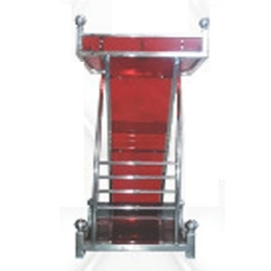 4 FT - Heavy Premium 100 % Steel Podium - Presentation Dias Made Of Stainless Steel - Red Color .