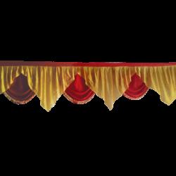 24 FT - Designer Zalar - Scallop Zalar - Kantha - Jhalar - Made Of Lycra With Tipki - Sona Gold & Red Colour