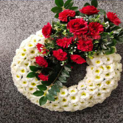 28 Inch  X 24 Inch - Hanging Frame Ring - Artificial Flower With Frame - For Indoor & Out Door Decoration - Multi Color