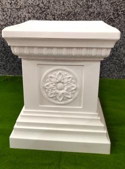 18 Inch Artificial Fancy Fiber Pillar - Stand - White C..