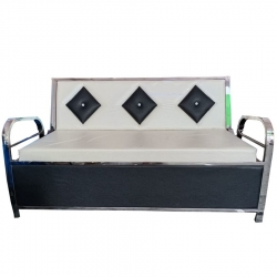 3 Seater Sofa - VIP Sofa - Made of Steel & Fome - White & Black Color.