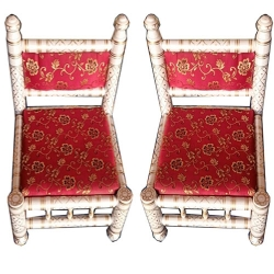 Sankheda Chair - Traditional Wooden Chair - One Pair (2 Chairs) White & Red Color