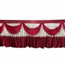 Height - 2.5 FT - Breadth - 10 FT - Table Cover Frill - Made Of Premium Lycra Quality -  White Color & Mehroon Color