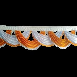 24 FT - Designer Zalar - Scallop Zalar - Chain Scallop Zalar - Kantha - Jhalar - Made Of Lycra - Mango Gold & White Colour
