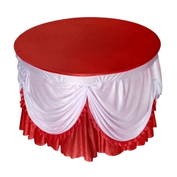 4 FT x 4 FT - Round Table Cover - Made of Premium Quality Lycra Cloth - Scallop Border - Red & White Color