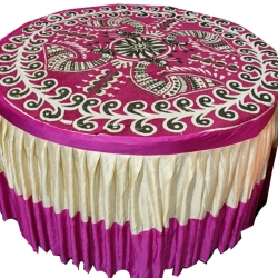 4 FT X 4 FT - Round Table Cover - Made Of Premium Quality Brite Lycra - Top Velvet Fabric Cloth - Pink Color