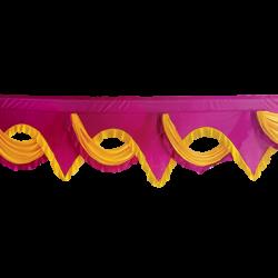 24 FT -  Designer Zalar - Scallop Zalar - Kantha - Jhalar - Made Of Lycra - Maharani Pink & Yellow Colour