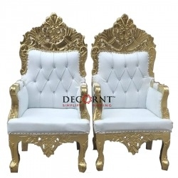 White Color - Regular Chair - Couches - Wedding Chair - Made of Wooden & Paint Finish - Single