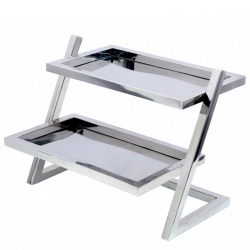 14 Inch - Stainless Steel Salad Stand - 2-Tier Stand - Silver Color - Made of Stainless Steel