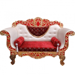 White & Red - Heavy Premium Metal Jaipur Couches - Sofa - Wedding Sofa - Wedding Couches - Made of High Quality Metal & Wooden