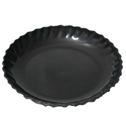 5 Inch - Chat Plate - Made Of Food-Grade Regular Plastic Material - Leher Round Shape - Black Color
