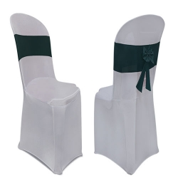 Lycra Cloth Chair Cover Without Handle - For Plastic Chair - Armless - Silver With Bottle Green Bow Tie