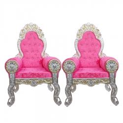 Pink Color - Heavy Metal Premium Jaipuri Chair - Wedding Chair - Chair Set - Made Of Metal & Wooden - 1 Pair ( 2 Chair )