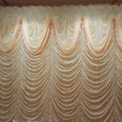 10 FT X 15 FT - Designer Curtain - Parda - Stage Parda - Wedding Curtain - Mandap Parda - Back Ground Curtain - Side Curtain - Made Brite Lycra - Cream Color